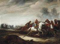a cavalry engagement by abraham van der hoef