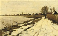 winter - walking along the river vecht on a snow covered path by nicolaas bastert