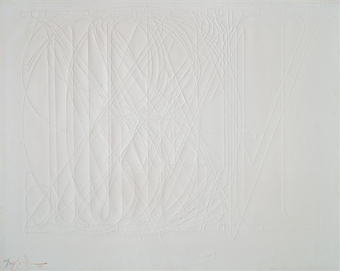 embossed alphabet by jasper johns