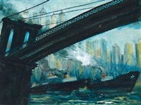 view from under the brooklyn bridge by john r. grabach