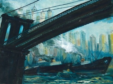 view from under the brooklyn bridge by john r grabach