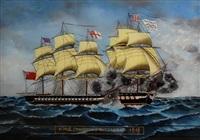 h.m.s shannon & chesapeak 1813 by jean le goff