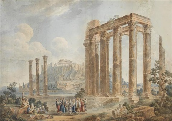 athen blick auf die akropolis und das olympieion by genaro perez villaamil
