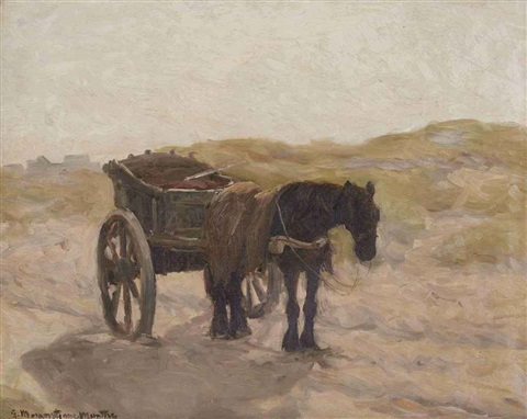 a horse and cart in the dunes by gerhard arij ludwig morgenstjerne munthe
