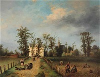a view of the achterweg with the nederlandse hervormde kerk in the background, heemstede by jan fabius