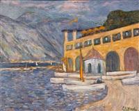 le port dans un paysage de montagne by eugène léon l' hoest