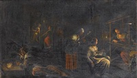 women weaving and sewing with a young boy lighting a fire in the foreground by bassano family