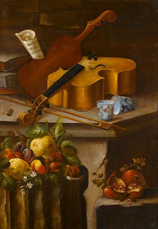 a basket of flowers on a stone ledge with pomegranates lemons apples strawberries and a fig a violin with two porcelain cups on a stone ledge with lemons peaches and plums on a stone column by cristoforo munari