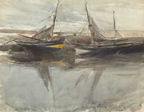 moored boats by giovanni boldini