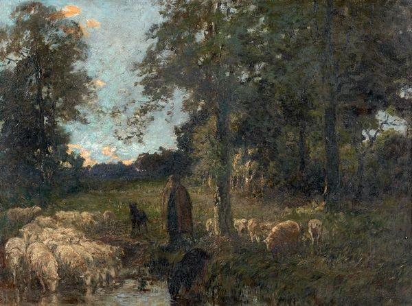 bergère et ses moutons à labreuvoir by adrien gabriel voisard margerie