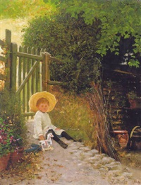 by the garden gate, a portrait of luke val fildes by mrs. samuel luke (fanny woods) fildes