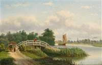 a summer landscape with figures along the river by johannes jacobus antonius hilverdink