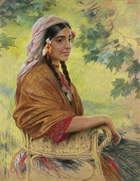 portrait de jeune femme by stanislaw reichan