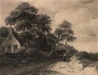 paysage avec un chemin près d'une auberge by michel van vries