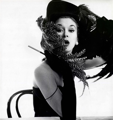 woman in chicken hat lisa fonssagrives penn new york by irving penn