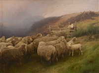 hermann herzog oil landscape with sheep by hermann herzog