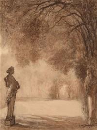 vue d'une allée bordée de statues dans le parc de versailles by lucien lévy-dhurmer