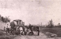countryfolk with a cart near town by thomas brabazon aylmer