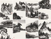 浙西山水 (八张) 镜片 水墨纸本 (8 works) by tang yun