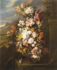 roses, tulipes, pivoines, liseron et autres fleurs dans un vase en cuivre sur un entablement en pierre by gérard van spaendonck
