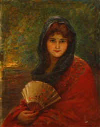 portrait of a young woman holding a fan by joseph w. gies
