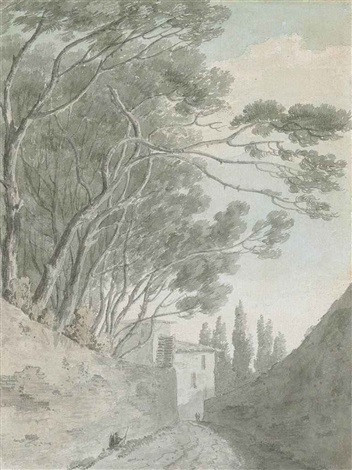 on a lane near the porta pinciana rome by john robert cozens