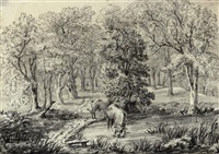 view of a farm near kingswood, surrey (+ cattle watering, pencil and crayon; 2 works) by hendrik frans de cort