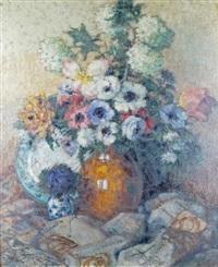 vase de fleurs aux anémones by joseph louis lépine