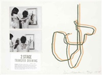 two stage transfer drawing (set of 2) by dennis oppenheim