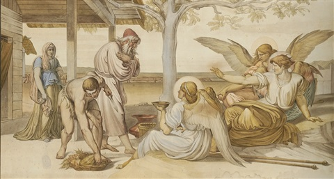 abraham and the three angels genesis xviii 1 19 by bonaventura genelli