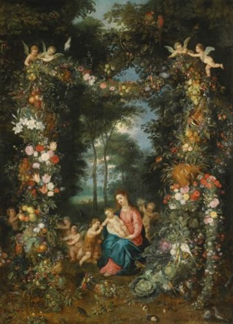 the virgin and child with the infant saint john the baptist surrounded by garlands and swags of fruit and flowers by jan brueghel the younger