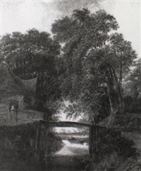 wooded river landsacpe with a man crossing a bridge by michel van vries