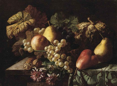 pears a pumpkin grapes an apple walnuts and daisies on a partly draped table by jan frans van dael
