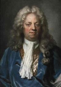 portrait de gentilhomme à la veste bleue by joseph vivien