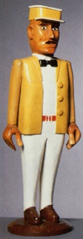 man in white shirt and pants, mustard jacket and cap by adelard cote