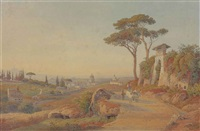 a view of rome from monte mario, behind the church of santa maria del rosario and the via trionfale, with buffalos driving a chariot in the foreground and the basilica of saint peter's in the middle ground by salomon corrodi