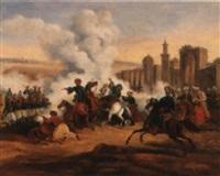 scènes de combat entre grecs et turcs, lors de la guerre d'indépendance by charles bellier