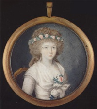 a lady wearing décolleté white dress with blue ribbon laced bodice and tied white shawl, a garland of pink roses in her hair and matching spray at her corsage by jean baptiste gille colson