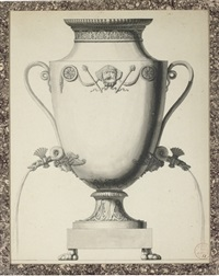 design for a samovar with an egyptian theatric mask and two snake's head taps by jean guillaume moitte