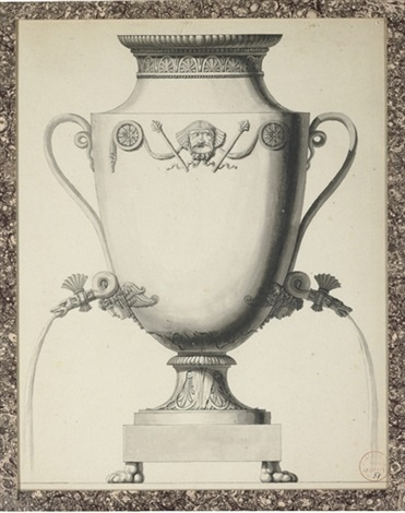 design for a samovar with an egyptian theatric mask and two snakes head taps by jean guillaume moitte