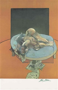 studies of the human body (centre panel) by francis bacon
