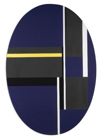 ellipse with blacks, blue and yellow by ilya bolotowsky