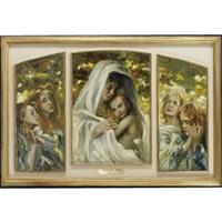 maternità con angeli (triptych) by ermenegildo agazzi