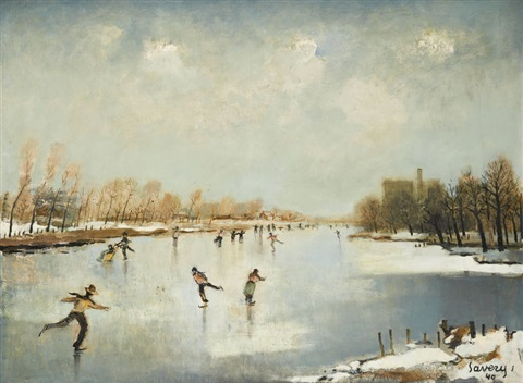 patineurs sur la lys by albert saverys