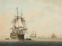 shipping at anchor off the coast awaiting the tide by samuel atkins
