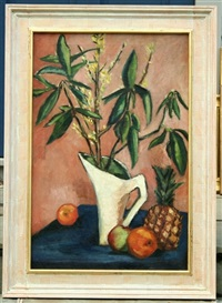 still life with pitcher, fruit, and plant by preston dickinson