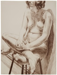 nude on a stool by philip pearlstein