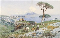 a goatherder looking over the bay of naples by otto geleng
