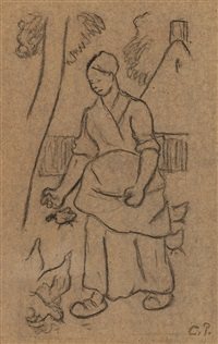 femme aux oies by camille pissarro