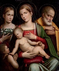 the holy family with the infant saint john the baptist and saint elizabeth by giacomo raibolini